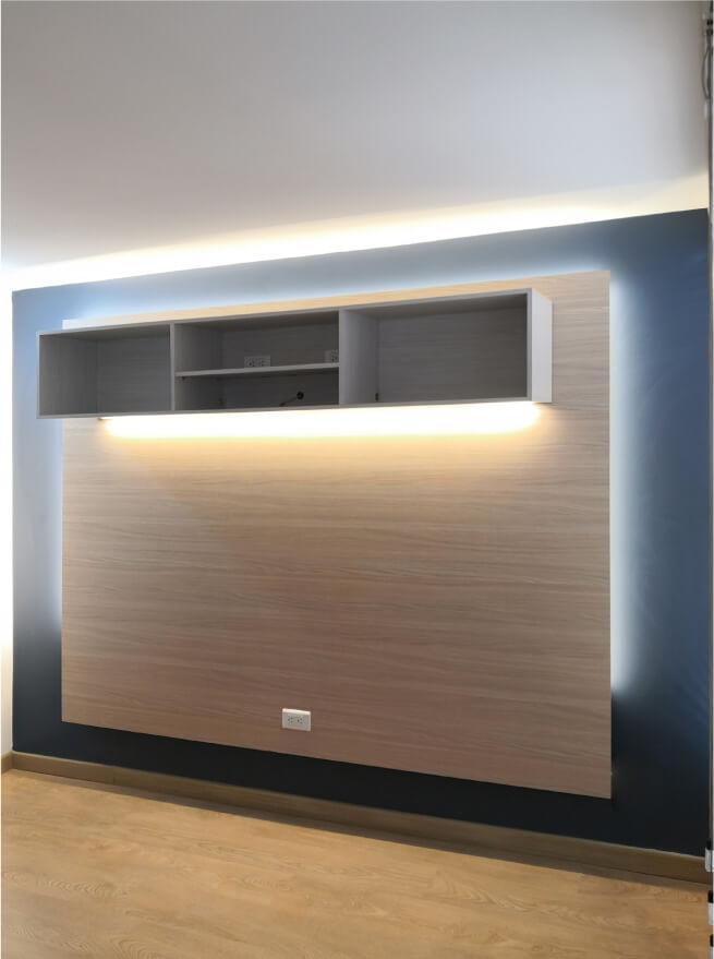 centro de entretenimiento para video beam y sistema de iluminacion calida