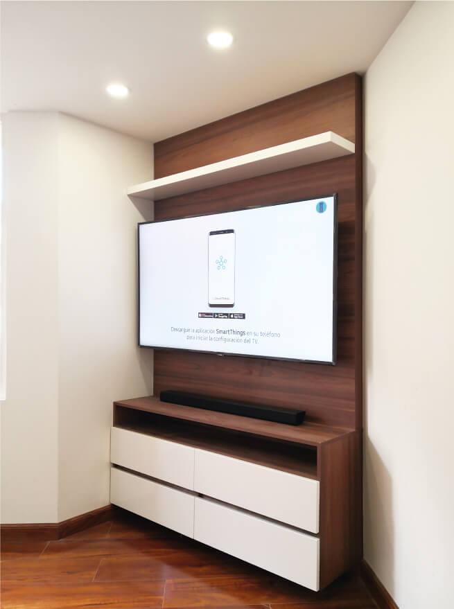 centro de entretenimiento moderno poliuretano blanco con madera