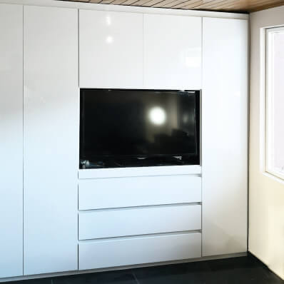 closet moderno diseño puertas frontales lamina de alto brillo blanco